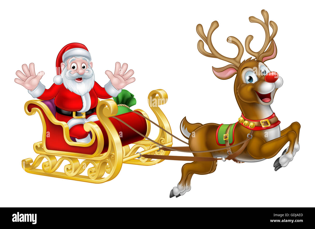 Cartoon Santa Claus In His Christmas Sleigh Sled With His