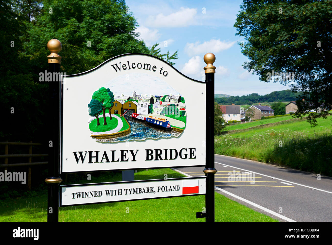 Sign welcoming drivers to the town of Whaley Bridge, Derbyshire, England UK - Stock Image