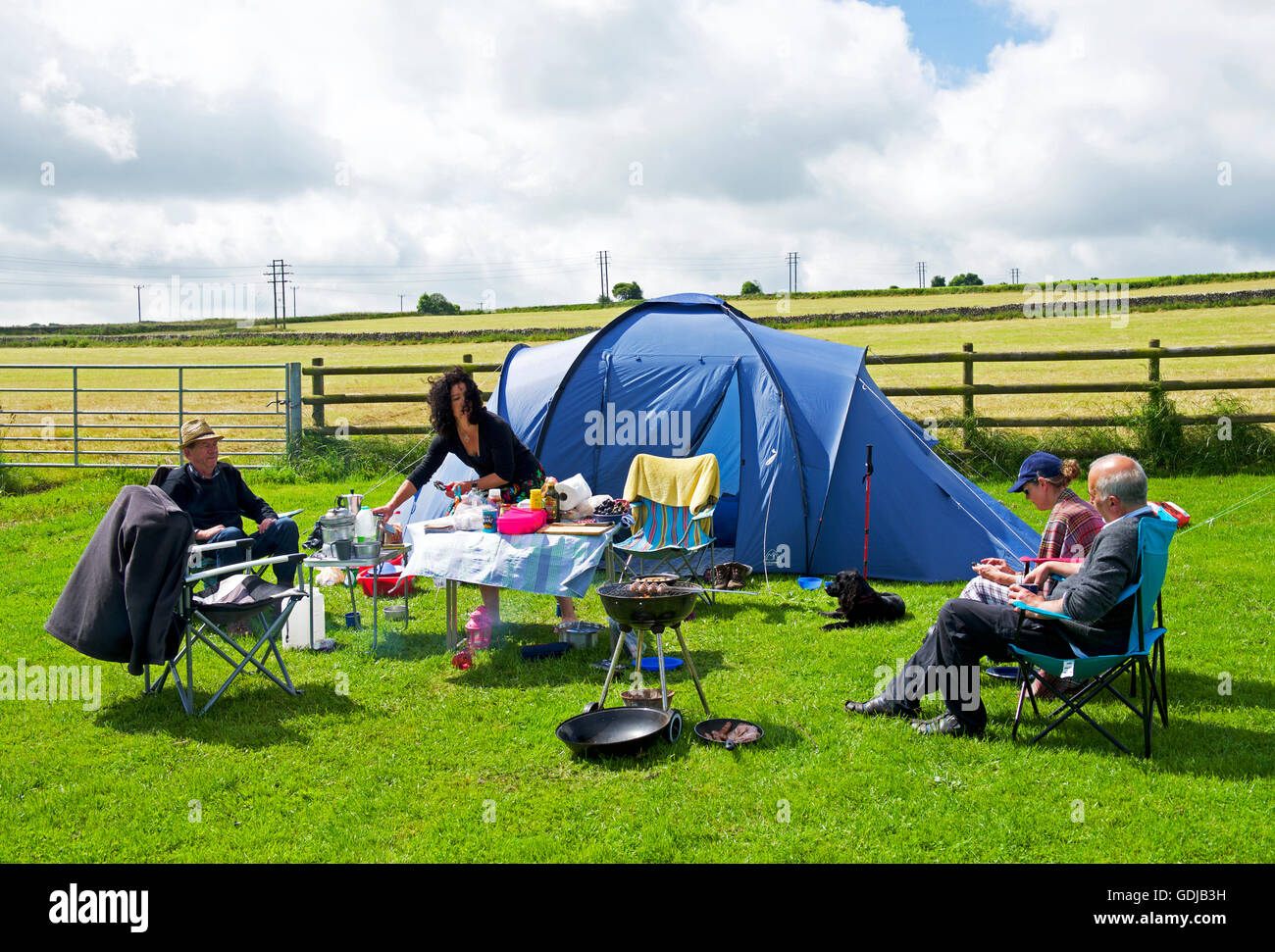 Camping in the Knotlow Farm campsite, near Flagg, Buxton, derbyshire, England UK - Stock Image