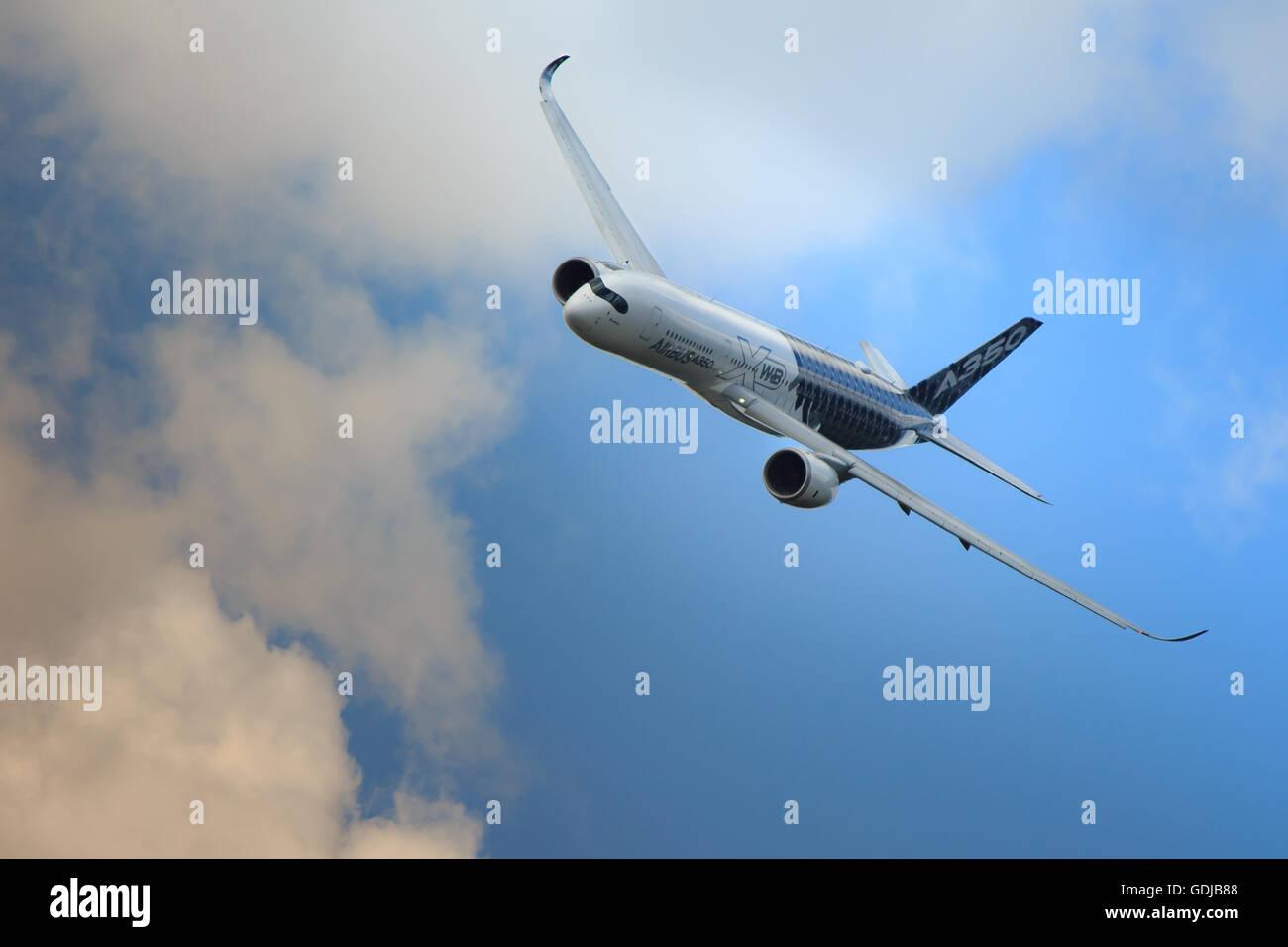 Elegant Airbus A350 in flight - Stock Image