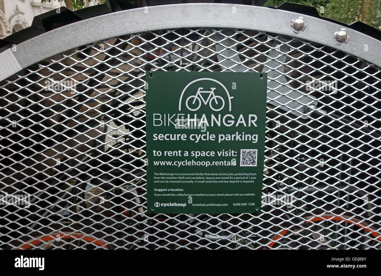 'Bikehangar' secure bicycle parking facility, Brixton, London - Stock Image