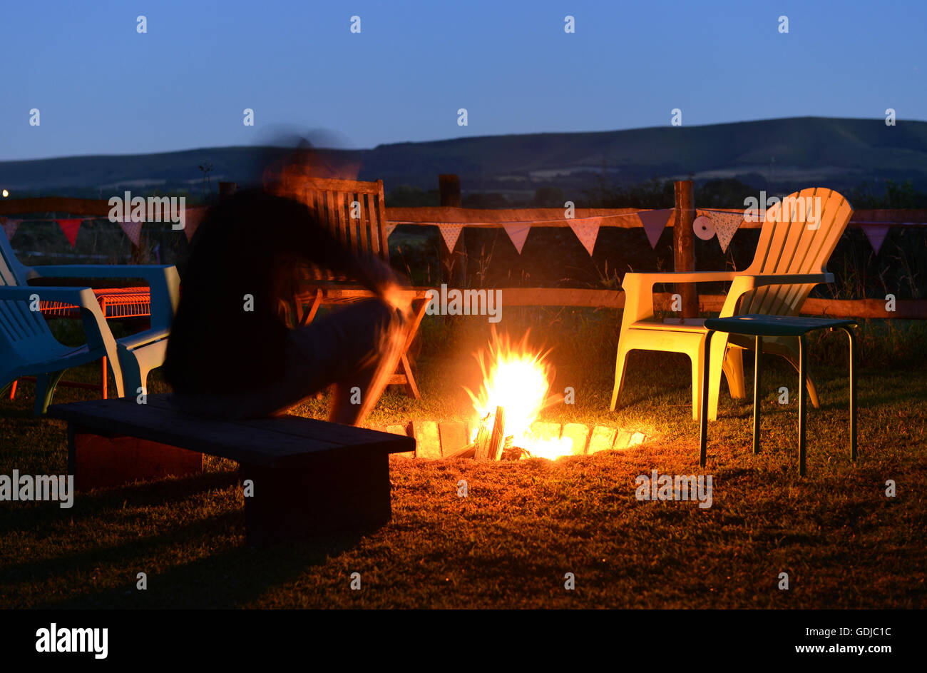 Camp fire and bunting - Stock Image