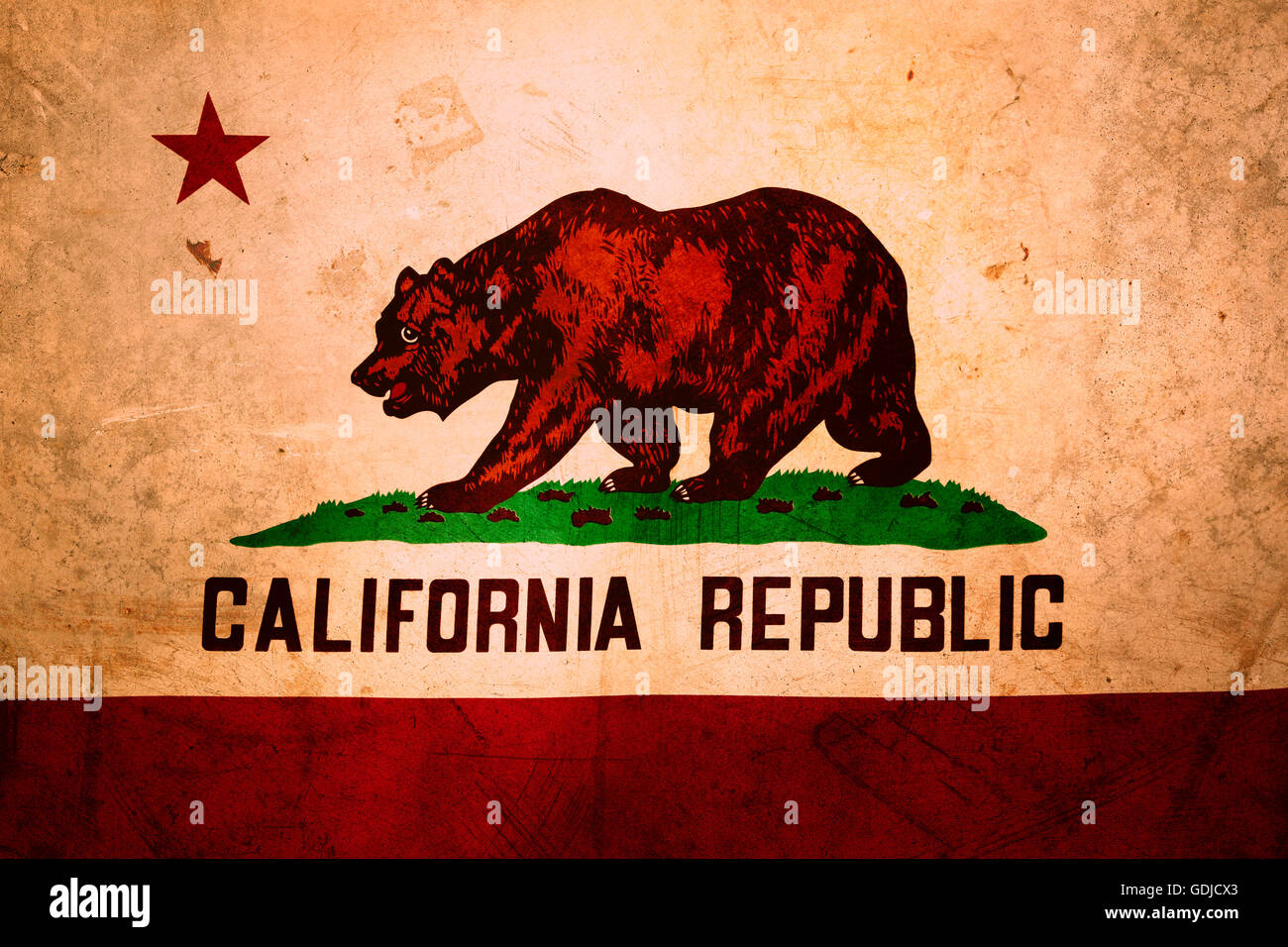 Closeup Of Grunge California Flag