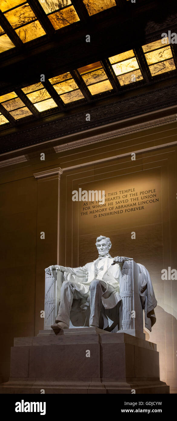 Statue of Abraham Lincoln  in the Lincoln Memorial in Washington DC - Stock Image