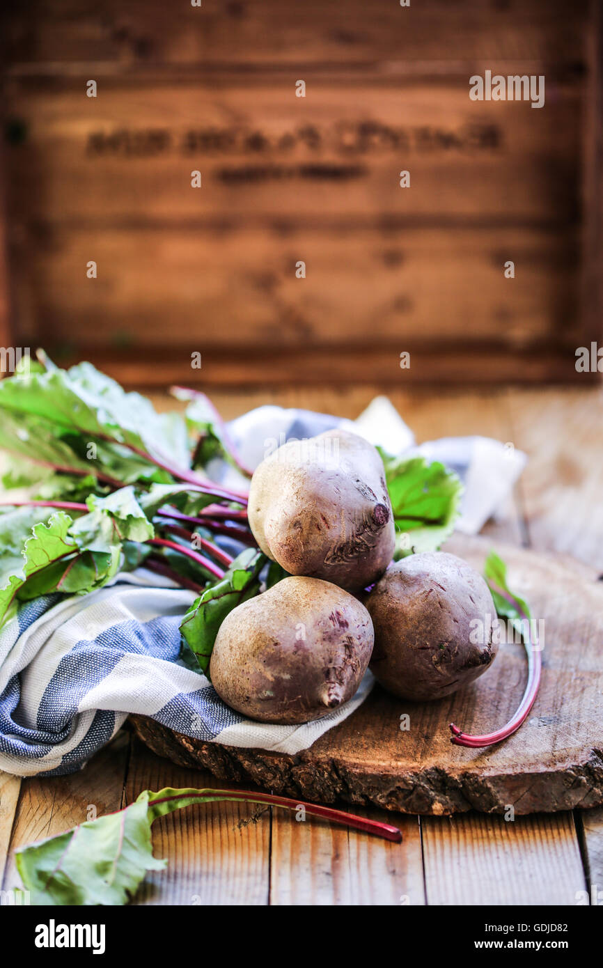 Beetroot on a wooden tray. - Stock Image