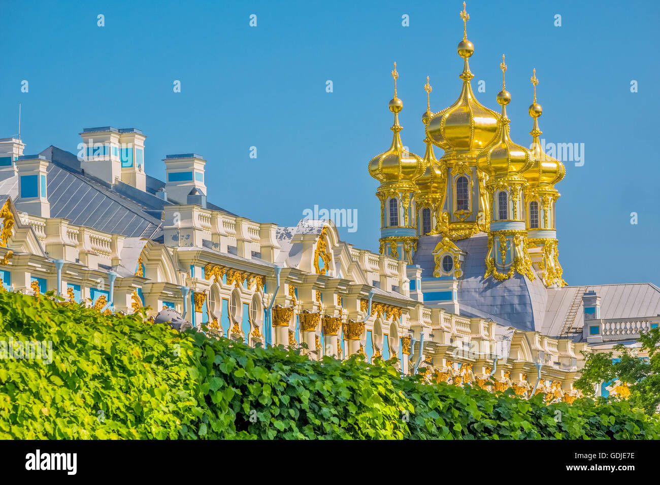 Roof and Domes Of The Catherine Palace Pushkin St Petersburg Russia - Stock Image