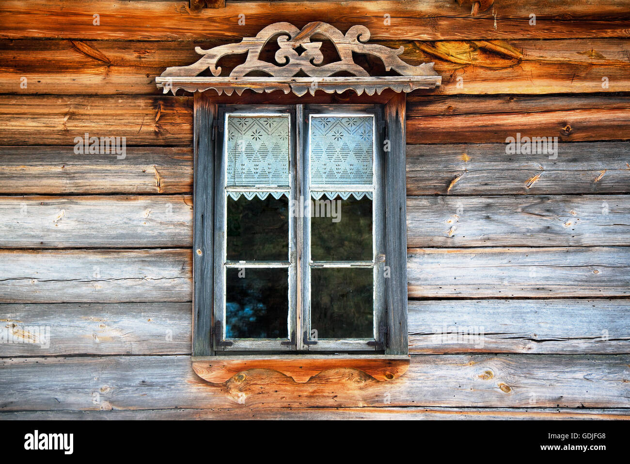 Wooden window frame with curtain Stock Photo