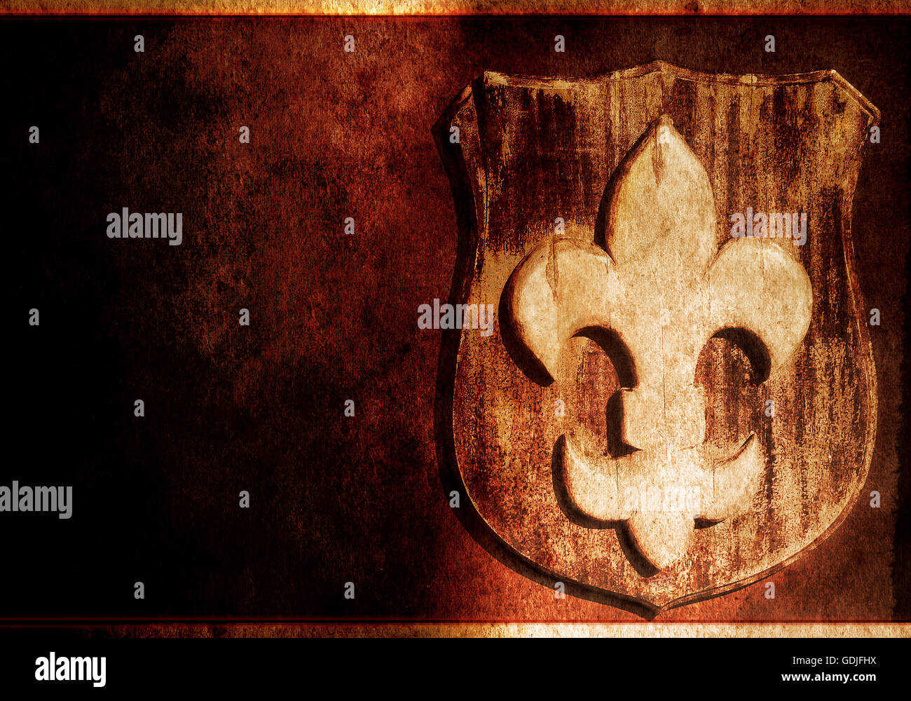 Lily symbol in heraldry, Fleur de Lis Stock Photo