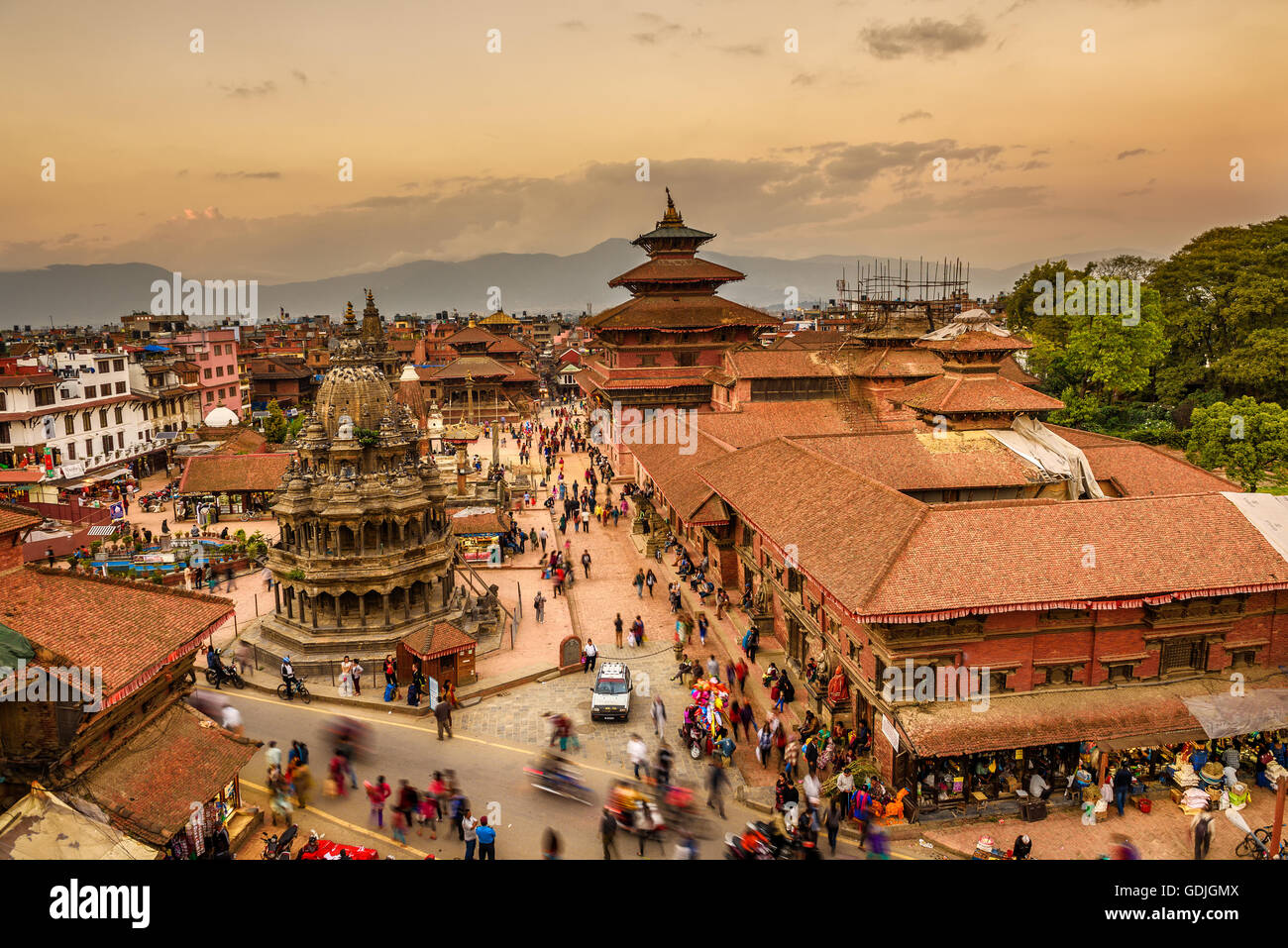 Sunset over  Patan Durbar Square in Nepal - Stock Image