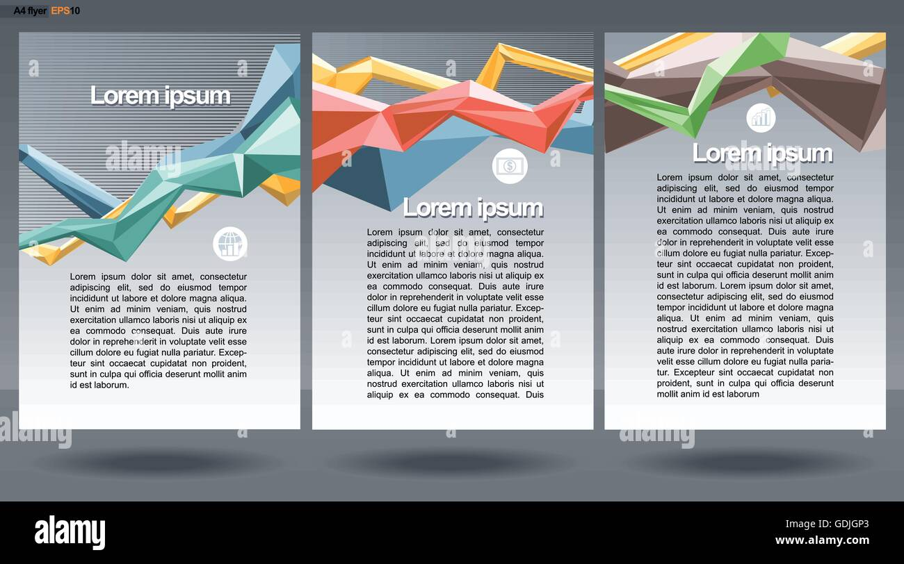 Abstract Print A4 Design In 3 Parts With Colored Lines For Flyers Banners Or Posters Money Map And Chart Icons Over Si