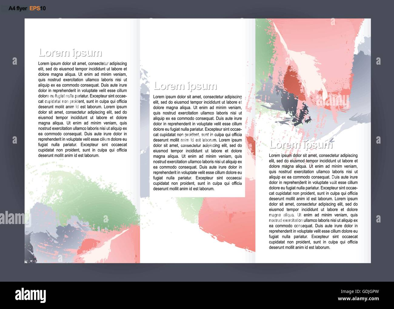 Abstract Print A4 Design In 3 Parts With Colored Brush Strokes For Flyers Banners Or Posters Over Silver Background Digital V