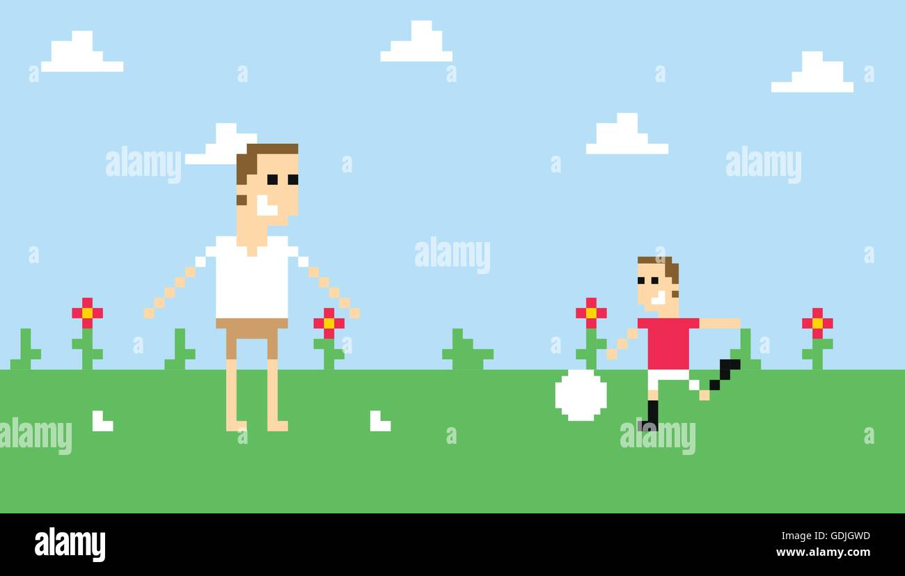 Pixel Art Image Of Family Playing Football In Park Stock