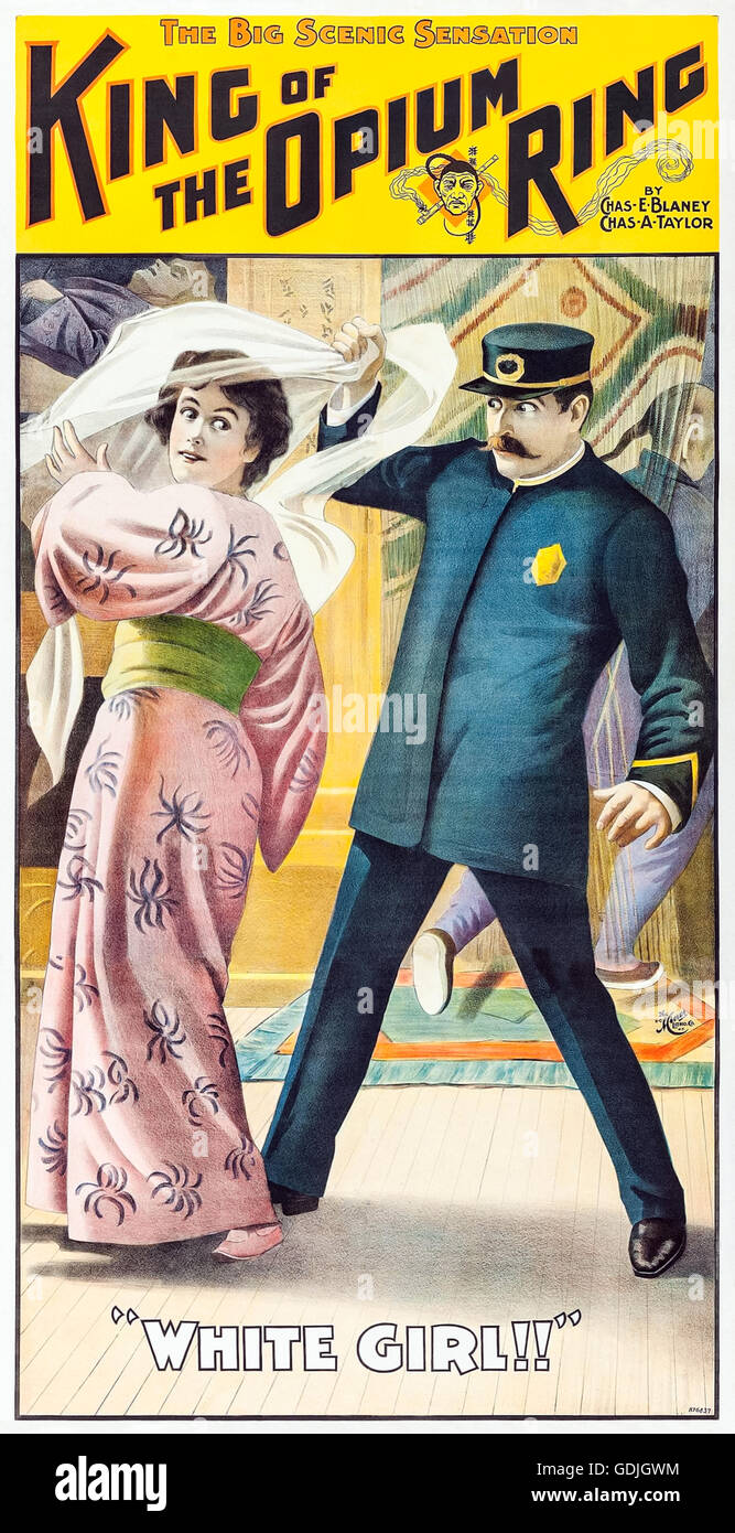 """""""The King of the Opium Ring"""" Playbill showing the uncovering of a """"White Girl!"""" dressed in a kimono during the raid - Stock Image"""