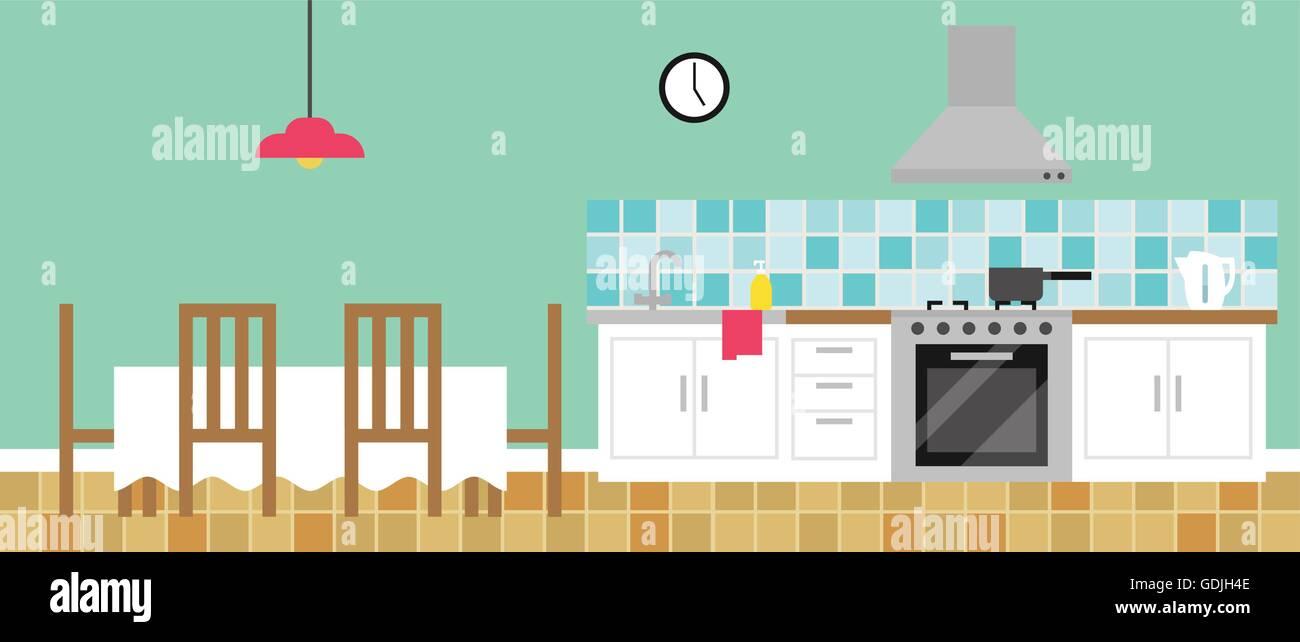Background Illustration Of Empty Kitchen Stock Vector Art ...