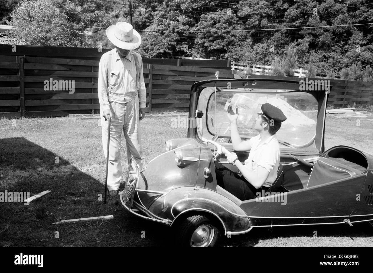 Elvis with his Messerschmitt Microcar, 1956 Stock Photo