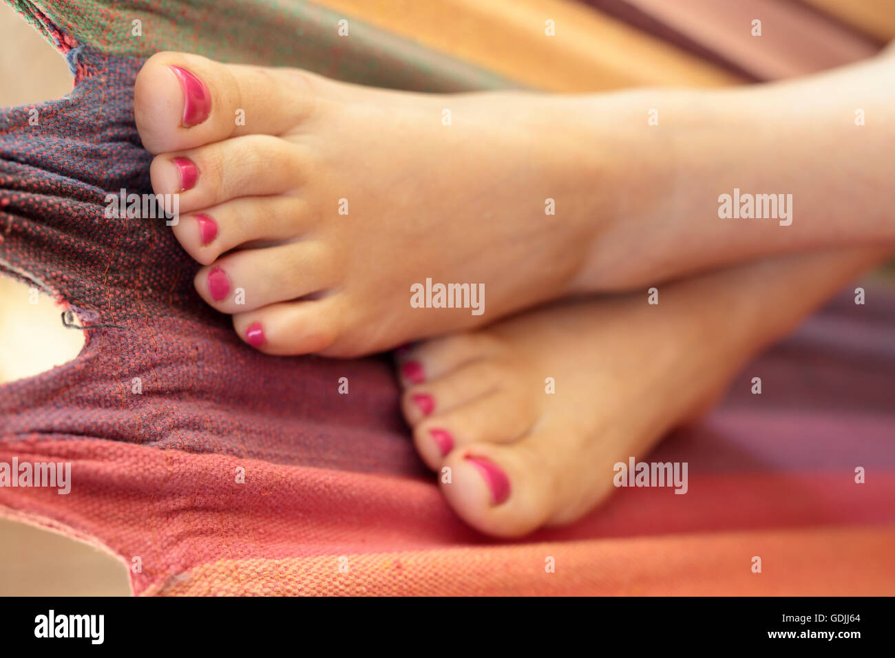 Woman Feet Painted Nails In Stock Photos & Woman Feet Painted Nails ...