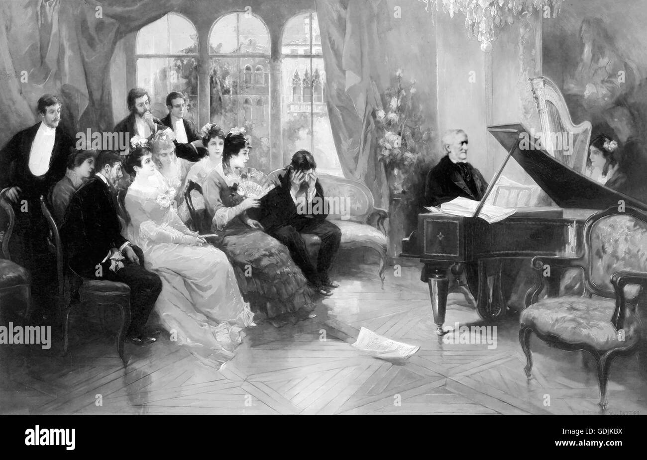 Richard Wagner. The German composer, Wilhelm Richard Wagner (1813-1883), playing the piano to a private audience. - Stock Image