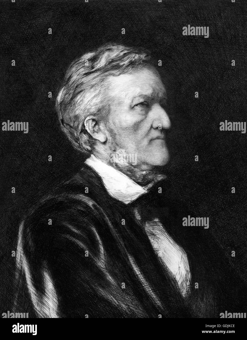 Richard Wagner. Portrait of the German composer, Wilhelm Richard Wagner (1813-1883). Etching by Hubert Herkomer, - Stock Image