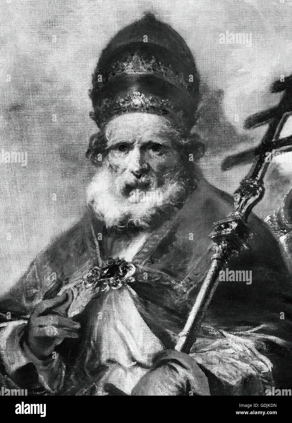 Pope Leo I (c. 400-461), also known as Saint Leo the Great, was pope from 440 to his death in 461. Painting by Francisco - Stock Image