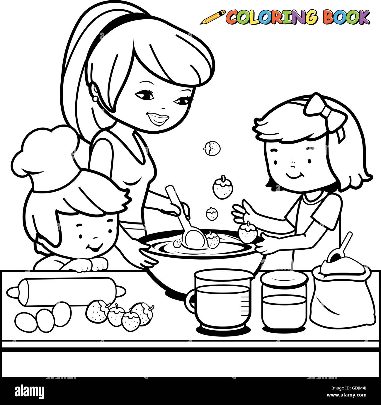 Mother and children cooking in the kitchen coloring book page Stock ...