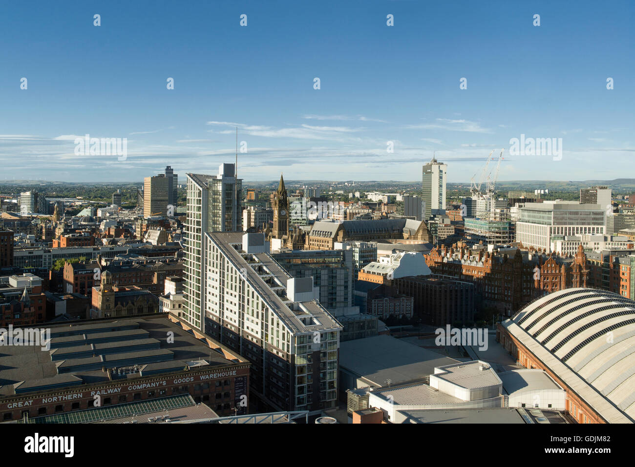 A shot of the city of Manchester skyline, UK, featuring various tall buildings and skyscrapers. - Stock Image