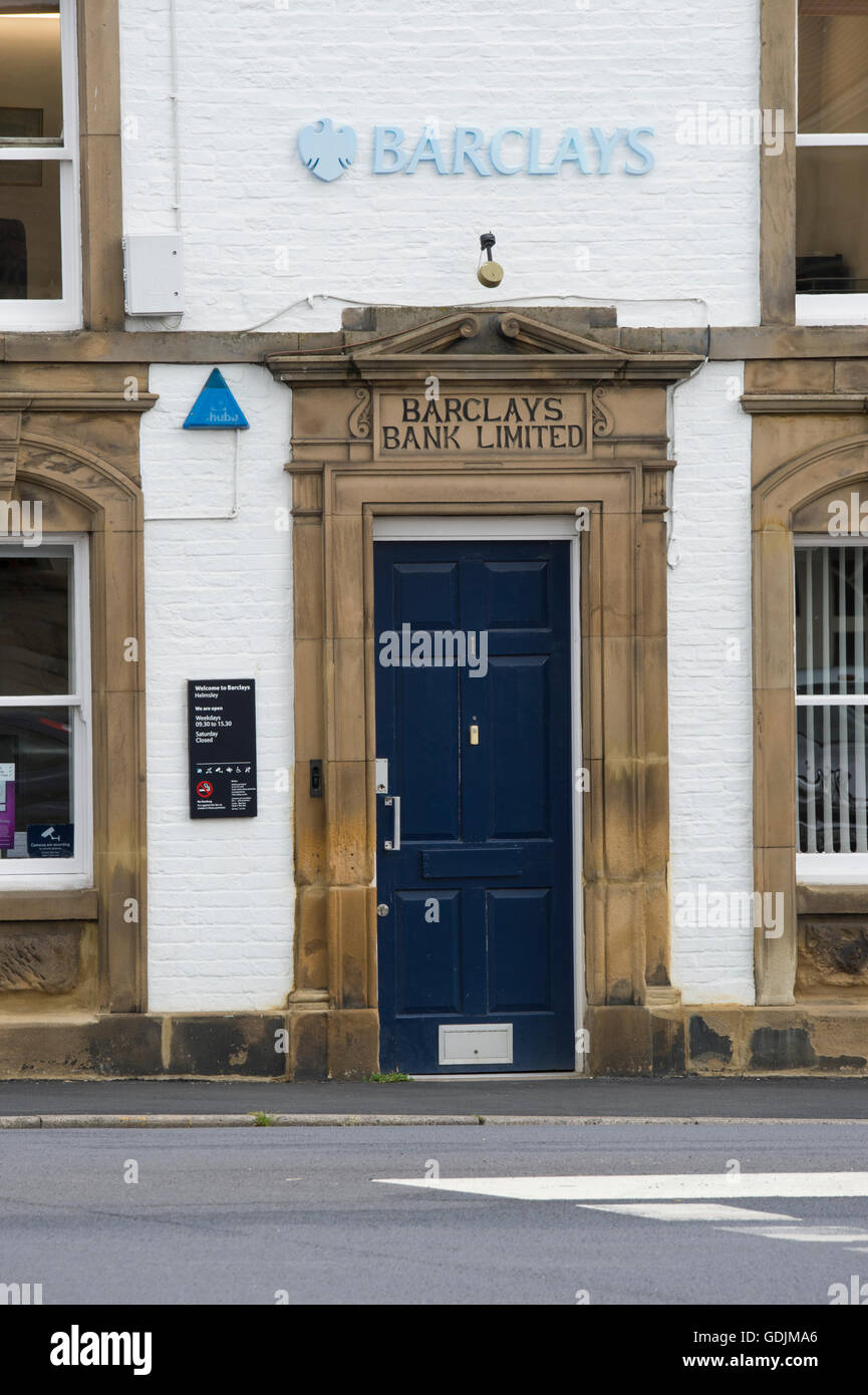 Entrance of Barclays Bank, Helmsley, North Yorkshire, England - this rural branch is closed  and the large blue - Stock Image
