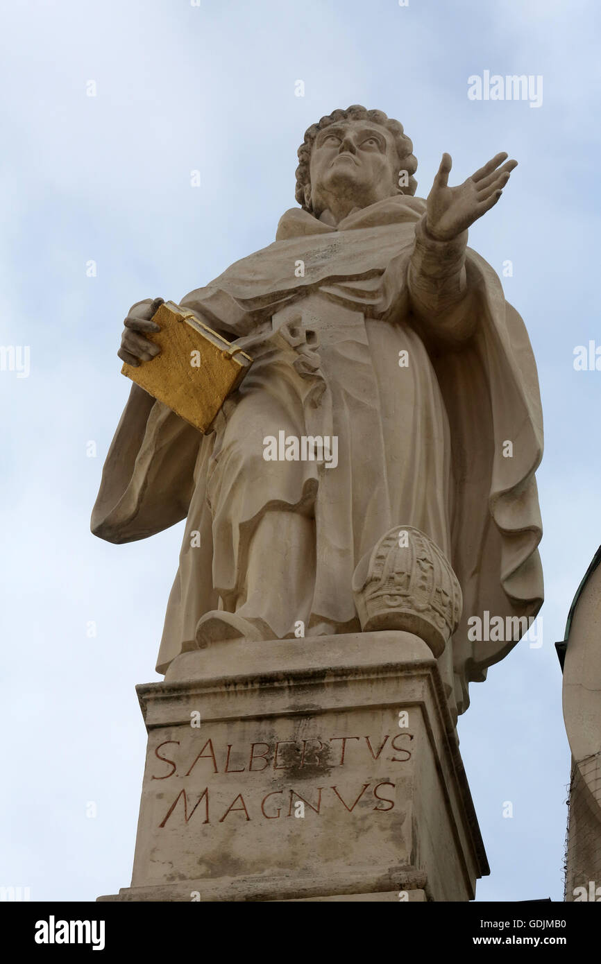Albertus Magnus also known as Albert the Great and Albert of Cologne on the facade of Dominican Church in Vienna, - Stock Image