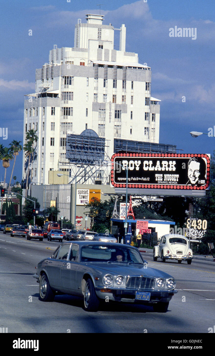 Sunset Strip with Roy Clark billboard and the sunset Tower Hotel circa 1970s - Stock Image