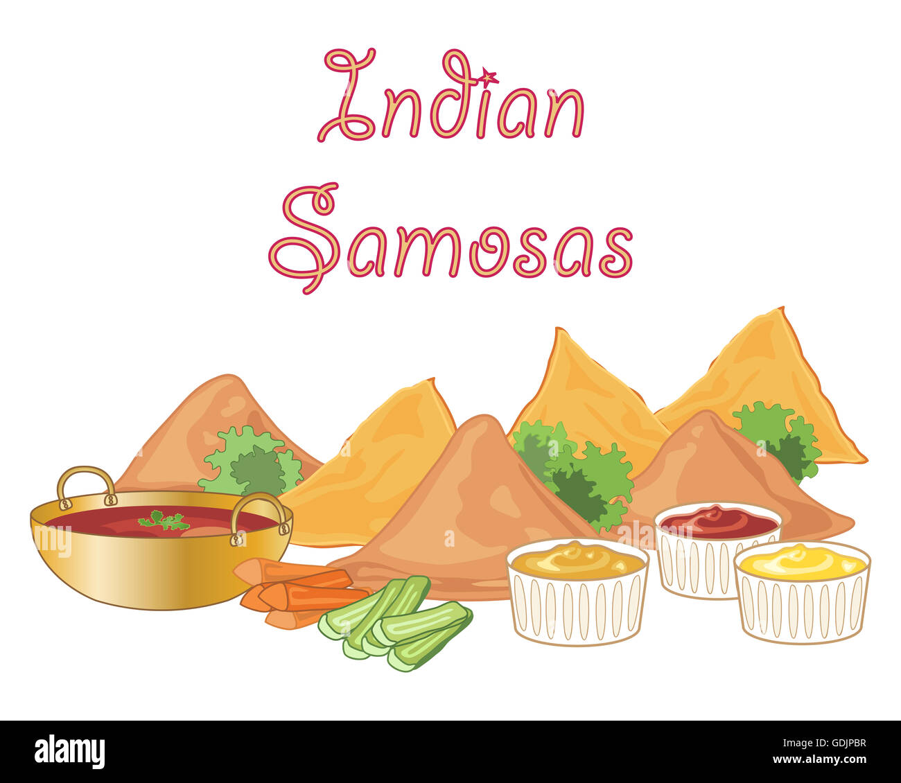 an illustration of some samosa snack food with dipping sauces and vegetable sticks with garnish on a white background - Stock Image