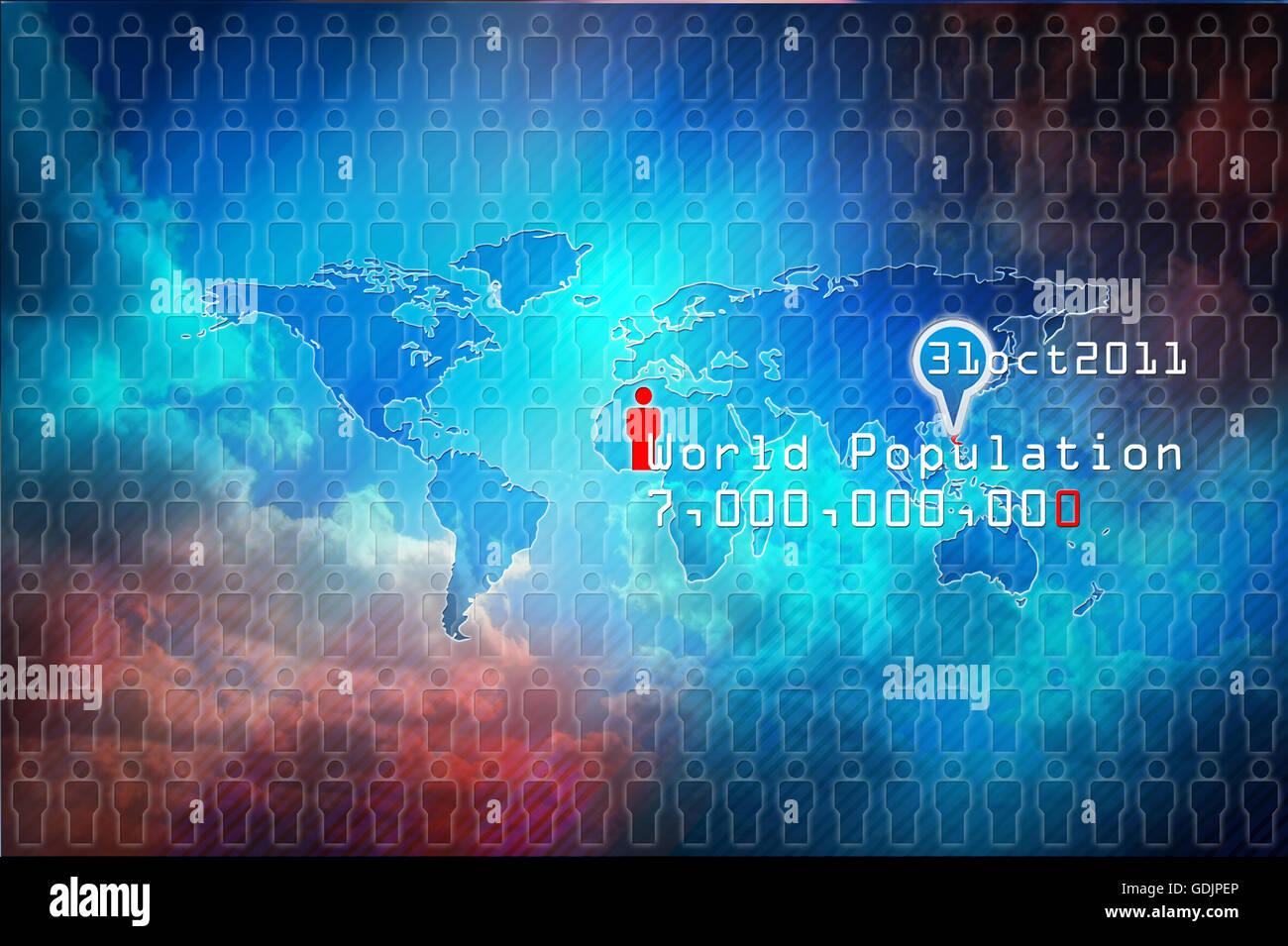 World population, global map population - Stock Image