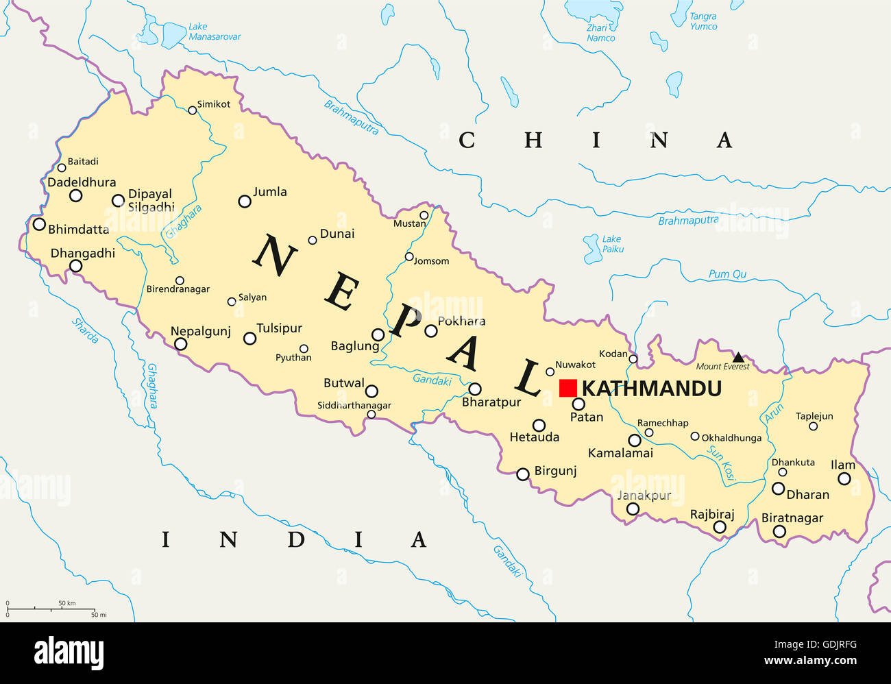 Nepal political map with capital Kathmandu national borders cities