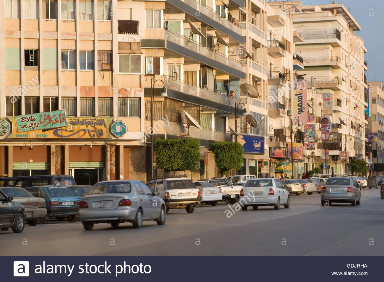 Benghazi, Libya, North Africa.  2007 Street Scene, Gamal Abdul Nasser Street. - Stock Image