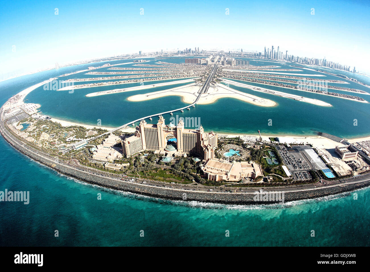 Aerial View Of Palm Jumeirah And Atlantis Hotel Dubai United Arab