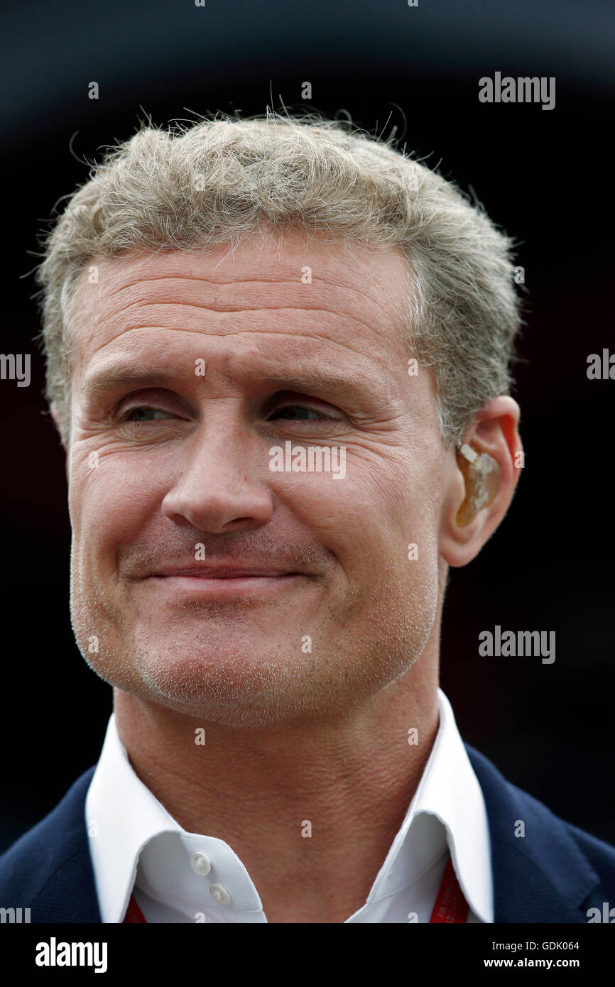 David Coulthard presents Channel 4's Formula One coverage from Silverstone during the British Grand Prix Stock Photo