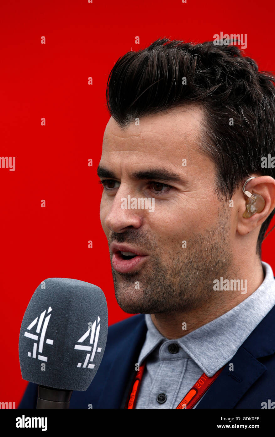 Steve Jones presents Channel 4's Formula One coverage from Silverstone during the British Grand Prix Stock Photo