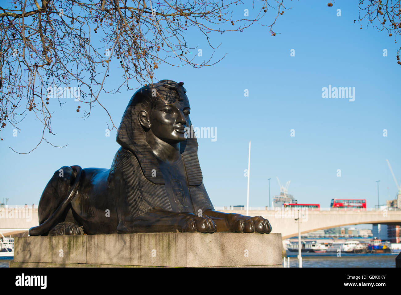 London, United Kingdom - April 02, 2013: Sphinx statue by the River Thames along the London Embankment - Stock Image