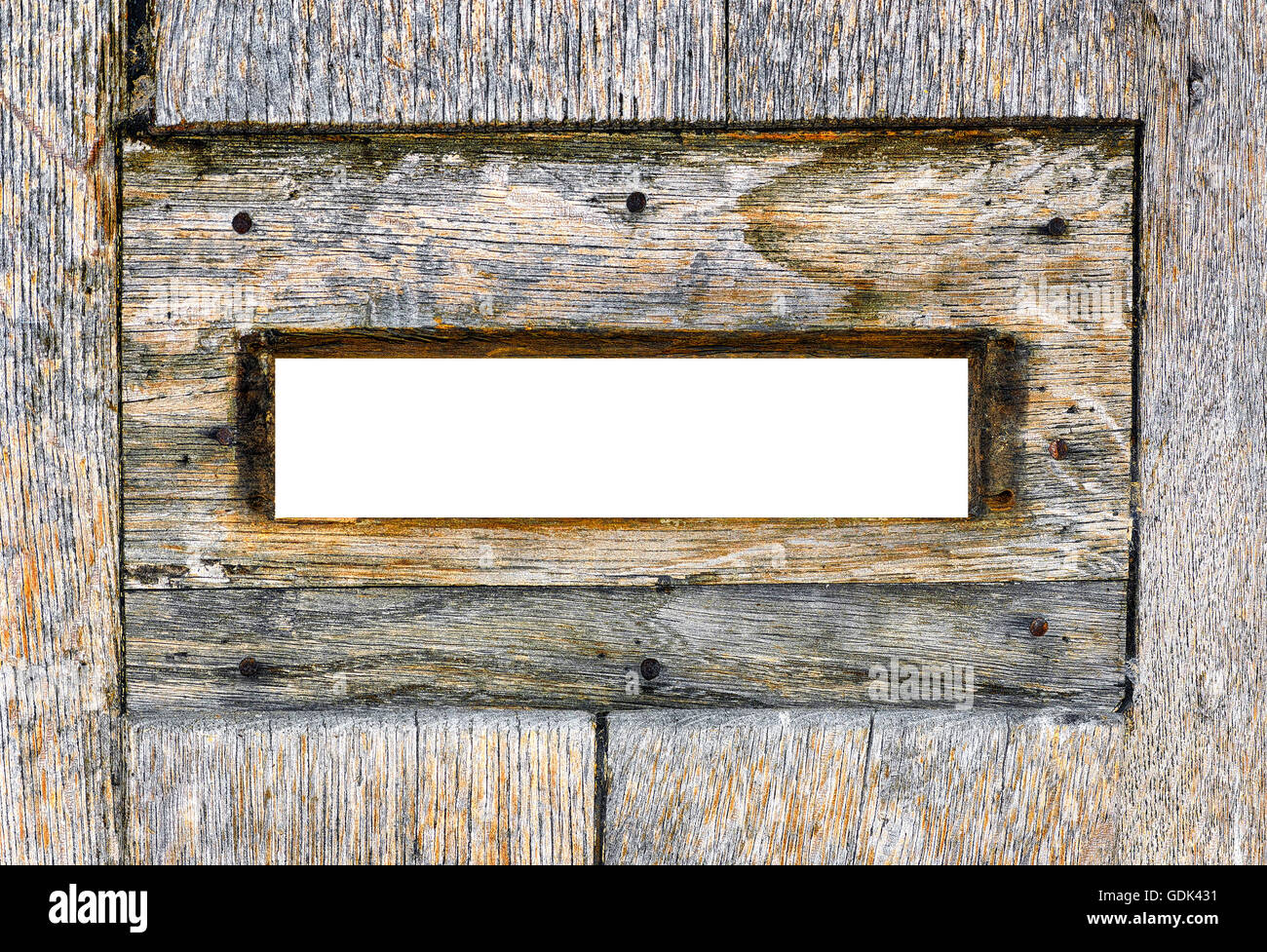 Wood mailbox. Inside view. Blank spyhole for insert anything you need. Intense colors. - Stock Image