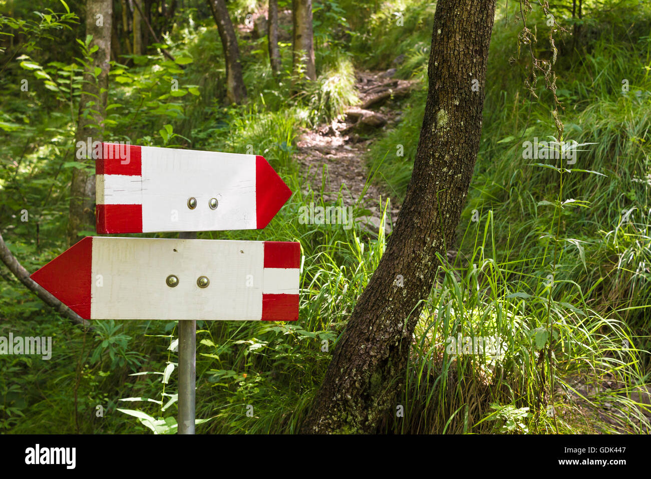 Close up of an isolated signboard along a trekking path. Direction indication. Arrow - Stock Image