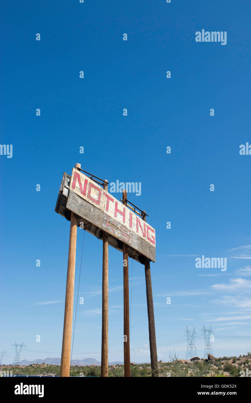 Town sign in the small abandoned settlement of Nothing, Arizona Stock Photo