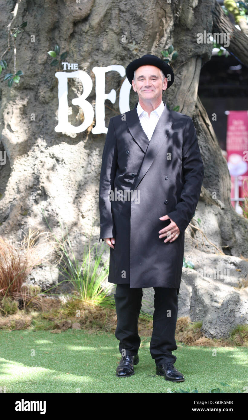 Mark Rylance attends the UK Premiere of The BFG at Odeon Leicester Square in London  - Jul, - Stock Image
