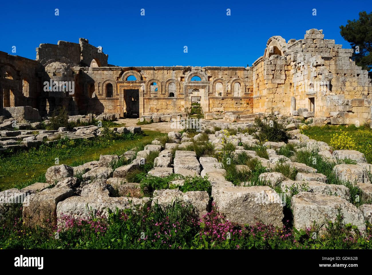 Church of Saint Simeon Stylites, northwest of Aleppo, Syria, Middle East. Stock Photo