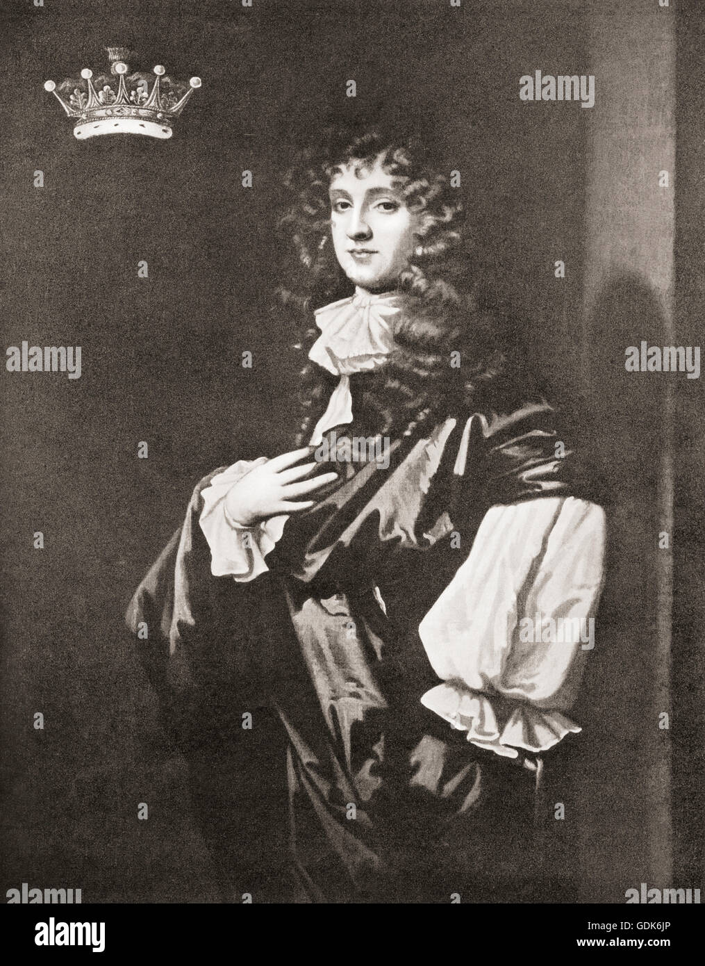 Edward Montagu, 2nd Earl of Sandwich, 1647/48 – 1688. After the painting by Sir Peter Lely. - Stock Image