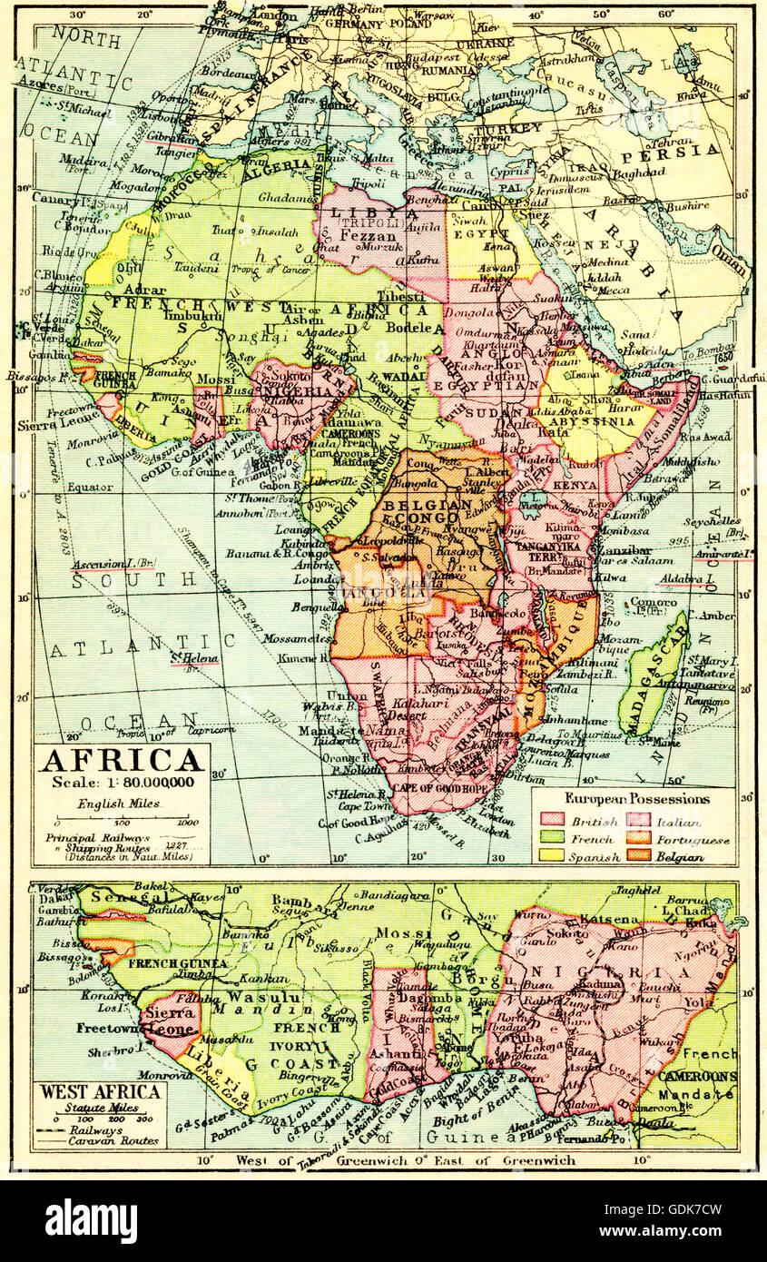 A 1930's map of Africa, top, with detail of west Africa, bottom