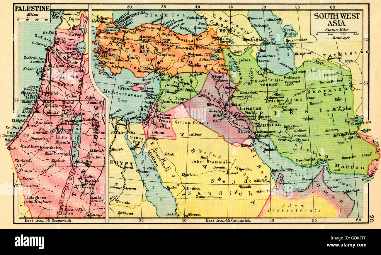 A 1930s map of palestine left and south west asia right stock a 1930s map of palestine left and south west asia right gumiabroncs Choice Image