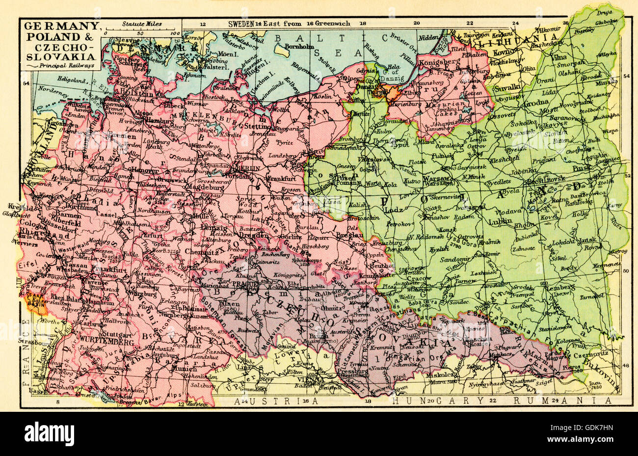 Poland 1930 Map A 1930's map of Germany, Poland and Czechoslovakia Stock Photo
