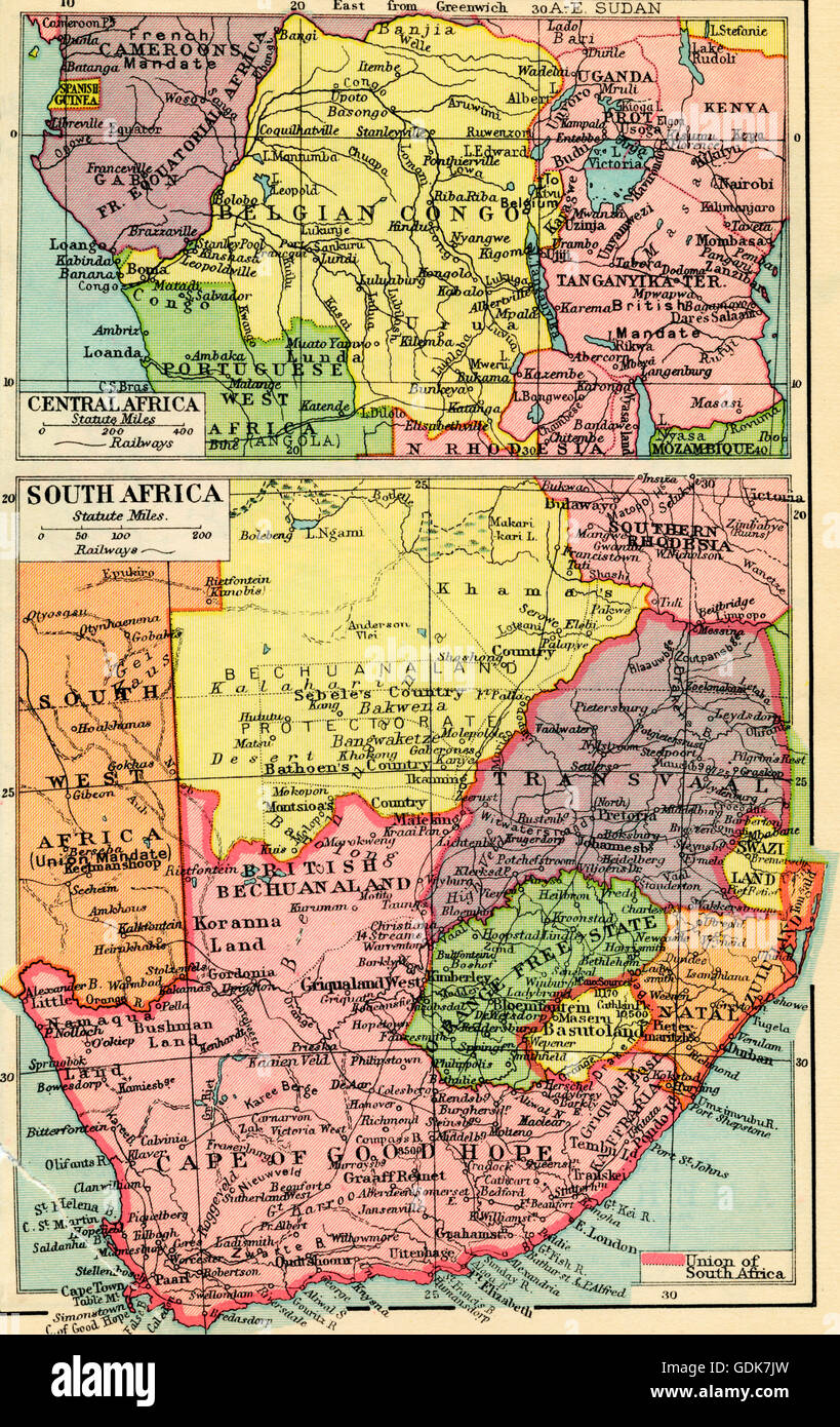 A 1930's map of central Africa, top and south Africa, bottom Stock