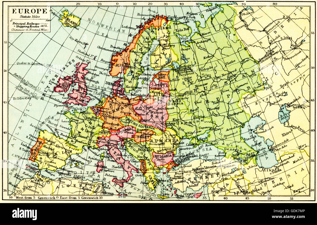 A 1930 S Map Of Europe Stock Photo 111675894 Alamy
