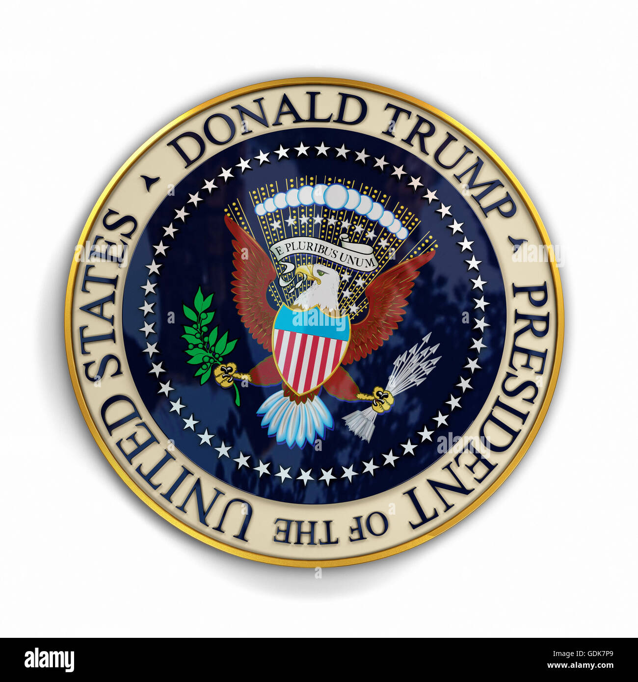 Illustration of presidential seal with Donald Trump's name on it. Stock Photo