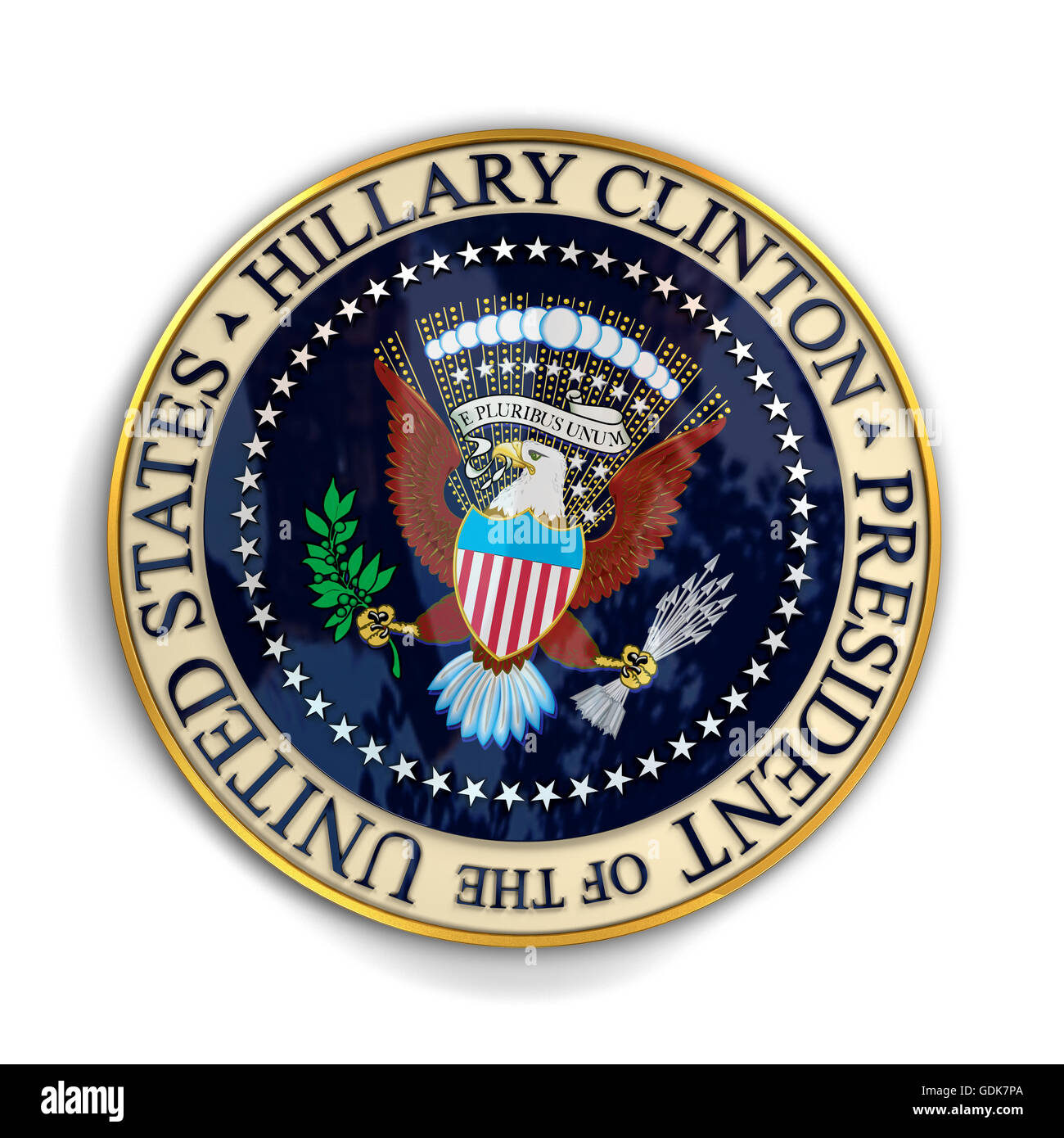 Illustration of presidential seal with Hillary Clinton's name on it. Stock Photo