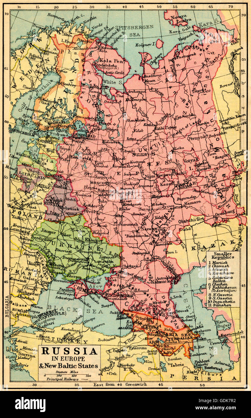 Baltic Europe Map.A 1930 S Map Of Russia In Europe And The New Baltic States Stock
